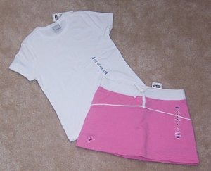 Old Navy 2pc Outfit Pink Skirt Skort & White Tee Shirt Sz 6 NWT
