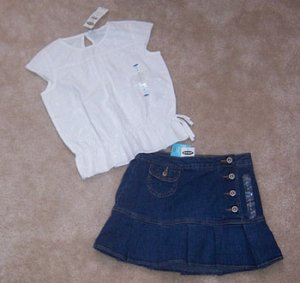 Old Navy 2pc Outfit Jean Skirt Skort & Lace Top Adorable Sz 6 NWT
