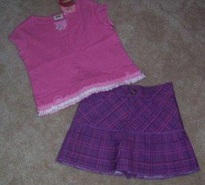 Faded Glory Adorable Pink Skirt and Purple Striped Skirt Set Sz 4 5 NWT