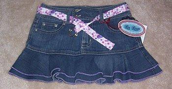 Be Bop Jean Skirt Skort Polka Dot Belt Girl Size 10 NWT