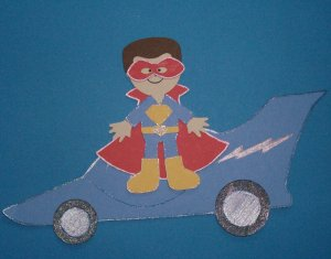 "3"" Customized Super Hero Boy and Car"