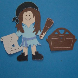 """3"""" Customized Pirate Girl with Treasure Chest"""
