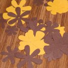 Gold and Brown Flower Die Cuts - 40 pcs