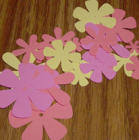 Pink, Peach and Yellow Flower Die Cuts - 40 pcs