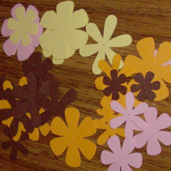 Gold, Brown and Pink Flower Die Cuts - 40 pcs