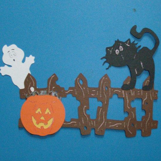 Halloween Fence, Jack o Lantern, Cat and Ghost Scene