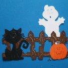 Halloween Fence, Pumpkin, Ghost and Sitting Black Cat Scene