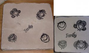 """Family"" 4 Coasters and Trivet Set"
