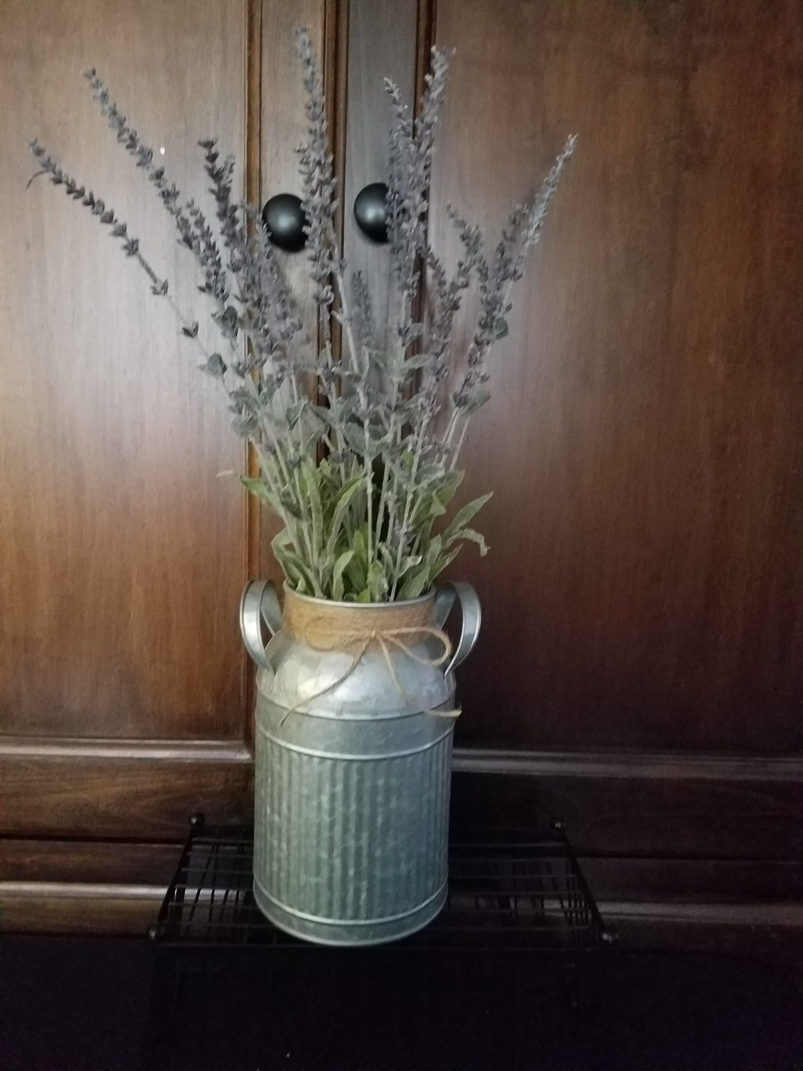 Rustic Farmhouse Galvanized Milk Can With Handles with Faux Lavender