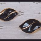 VINTAGE BLACK ENAMEL HUGGIE LEAF PIERCED EARRINGS