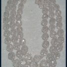 VINTAGE 1970s 3 STRAND CLEAR BEADED CHOKER NECKLACE NOS
