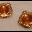 VINTAGE 1980s AMBER ACRYLIC GOLDTONE CLIP-ON EARRINGS
