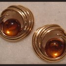 AMBER ACRYLIC HUGGIE PIERCED EARRINGS NOS VINTAGE
