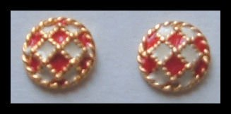 "RED & WHITE ENAMELED G/T HUGGIE PIERCED EARRINGS .50"" NOS VINTAGE 80s"