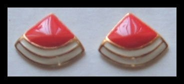 "RED & WHITE GOLDTONE HUGGIE PIERCED EARRINGS .75"" NOS VINTAGE 80s"