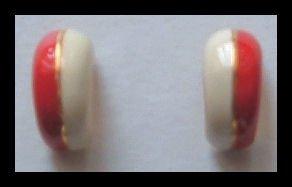 """RED & WHITE ENAMEL GOLDTONE HUGGIE PIERCED EARRINGS .75"""" 1980s VINTAGE"""