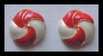 """PINWHEEL RED & WHITE ENAMEL G/T HUGGIE PIERCED EARRINGS .75"""" 1980s VINTAGE"""