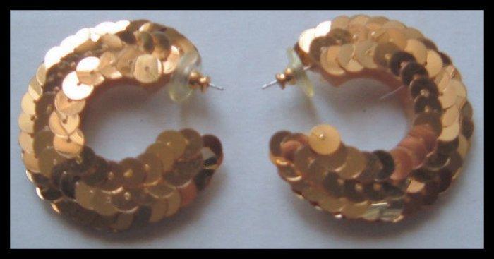 """GOLD SEQUIN HOOP PIERCED EARRINGS 1.75"""" 1980s VINTAGE"""