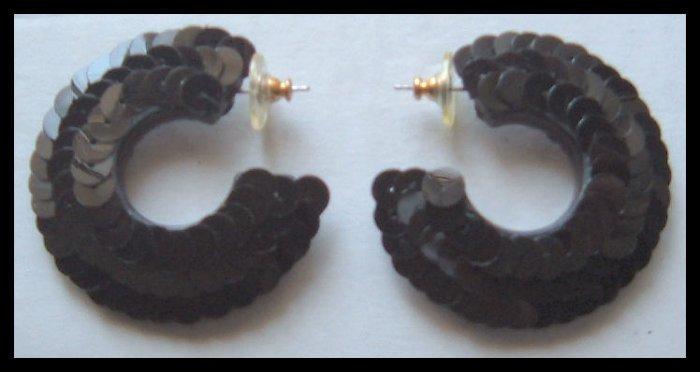 """BLACK SEQUIN HOOP PIERCED EARRINGS 1.75"""" VINTAGE 80s"""