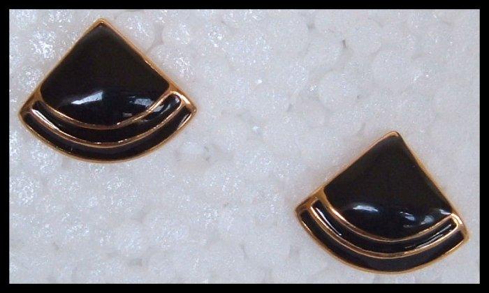 """BLACK ENAMEL GOLDTONE HUGGIE PIERCED EARRINGS .75"""" NOS VINTAGE"""
