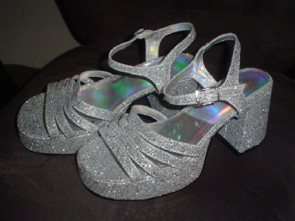 Silvery Glittery Disco Shoes