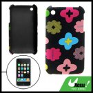 Plastic Back Case Flower Pattern Leather Coated for iPhone 3G