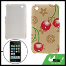 Cartoon Cherry Anti-Slip Plastic Hard Back Case for iPhone 3G