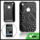 Plastic Case with Leather Cover Black for Apple iPhone 3G