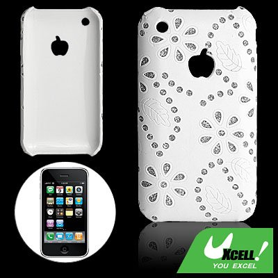 White Leather Wrapped Plastic Back Case for iPhone 3G