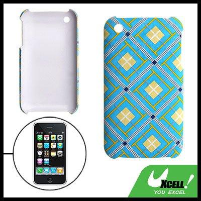 Plaid Plastic Hard Case Cover Light Blue for Apple iPhone 3G