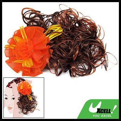 Orange Flower Girls Curly Extension Wig Clip Hairpiece