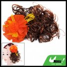 Orange Flower Girls Curly Extension Wig Clip Hairpiece