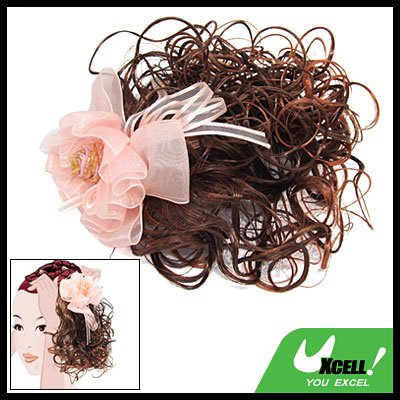 Clip Ponytail Girls Brown Curly Hair Piece Extension Wig