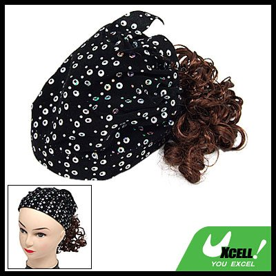 Stylish Girls Black Cap Hat Curly Brown Hair Piece Wig