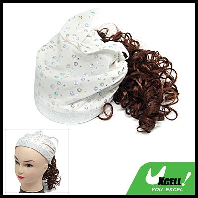 White Cap Hat with Brown Curly Hair Piece Wig for Girls