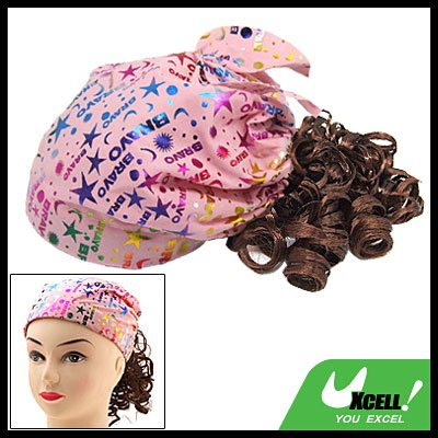 Girls Costume Brown Curly Wig Hairpiece Pink Cap Hat