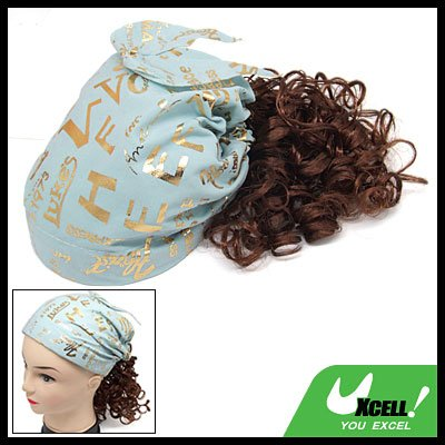Brown Curly Wig Bandana Girls Extension Hairpiece Hair Piece