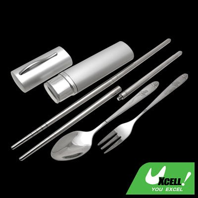 Portable Stainless Steel Chopsticks Spoon Fork Set Tableware With Flower Design