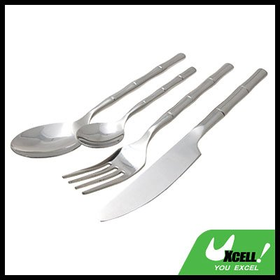 Stainless Steel Tableware Cutlery Set with Bamboo like Handle (4 pieces)