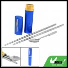 Portable Blue Case Stainless Steel Chopsticks Spoon Tableware Set