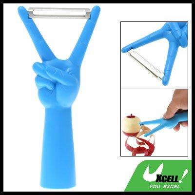 Stainless Steel Balde V Gesture Fruit Peeler Parer Blue
