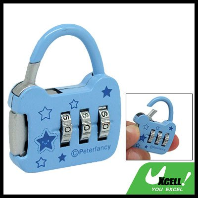 Blue Coded Lock 3 Digits Resettable Combination Padlock