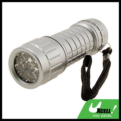 9 LED Powerful Camping Flashlight Torch Silver