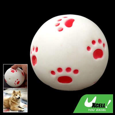 White Vinyl Squeaker Ball Toy for Pet Cat & Dog