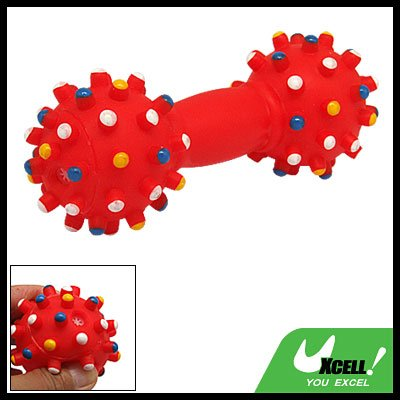 Red Dumbbell Pattern Squeaky Dog & Cat Pet Chew Toy
