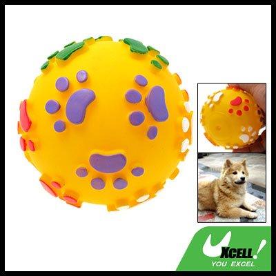 Vinyl Squeaker Yellow Ball Toy for Pet Cat & Dog