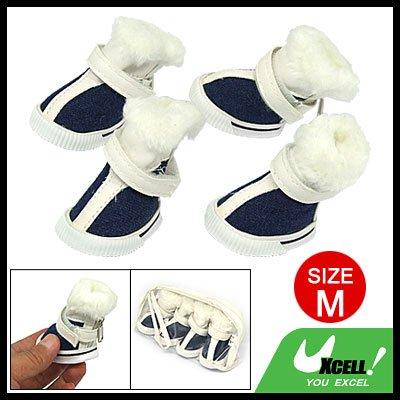 Plush Fabric Design Winter Protective Pet Dog Boot Shoes