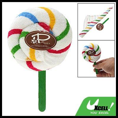 Colorful Strap Pattern White Washcloth Hand Towel Shaped Swirl Lollipop