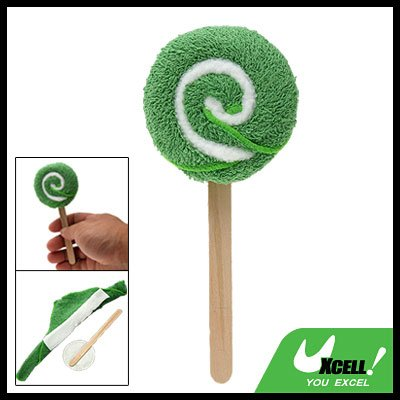 Small Towel Washcloth Shaped Green Swirl Lollipop for Kids