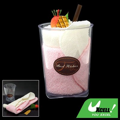 White Pink Handmake Towel Shaped Ice Cream with Plastic Bottle